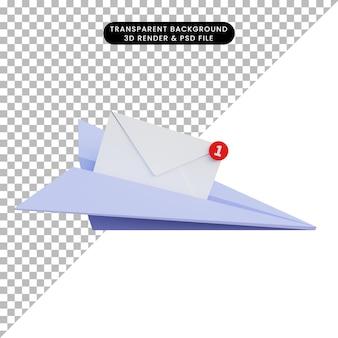 Lettera e aerei di carta dell'illustrazione 3d