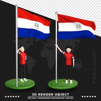 Illustrazione 3d della bandiera del paraguay con il personaggio dei cartoni animati della gente sveglia. rendering 3d.