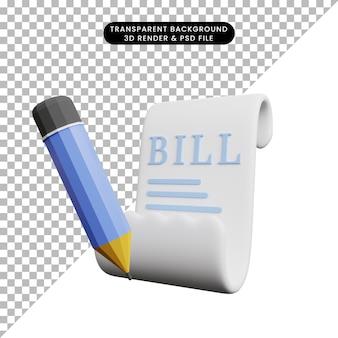 Illustrazione 3d della fattura e della matita dell'icona di concetto di pagamento
