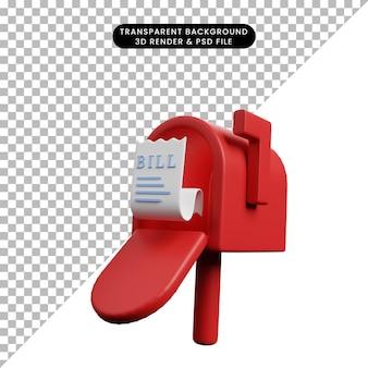 Illustrazione 3d della fattura cartacea dell'icona del concetto di pagamento sulla cassetta delle lettere