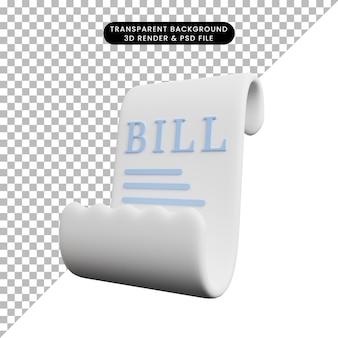 Illustrazione 3d della carta dell'icona del concetto di pagamento con fattura cartacea