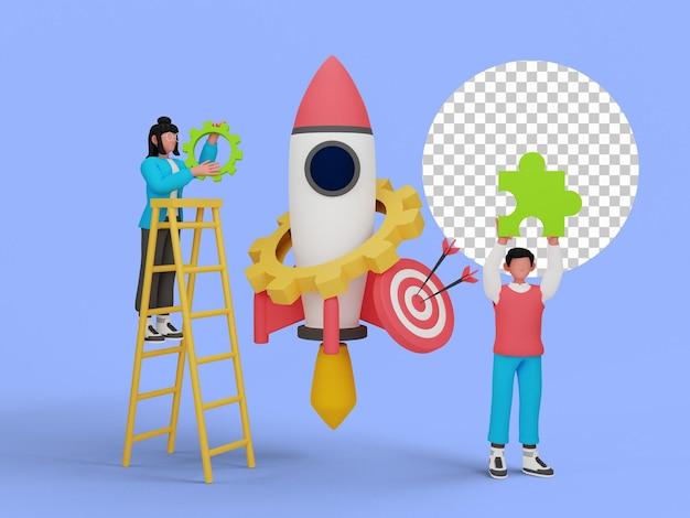 Illustrazione 3d di persone che iniziano un progetto commerciale per la pagina di destinazione