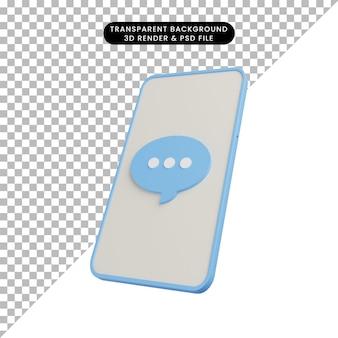 Illustrazione 3d del telefono con bolla di chat