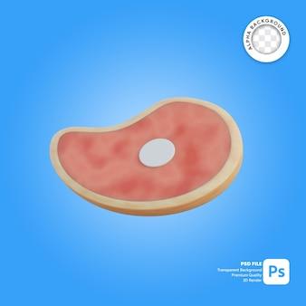 Illustrazione 3d di un pezzo di carne
