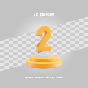 Podio dell'illustrazione 3d con il numero 2