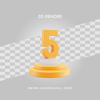 Podio dell'illustrazione 3d con il numero cinque