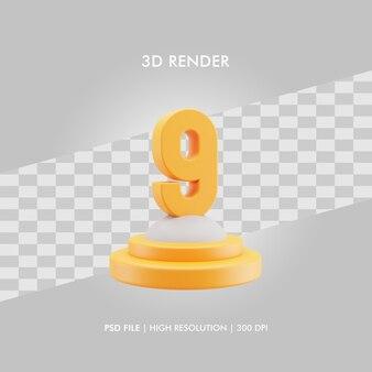 Podio dell'illustrazione 3d con il numero nove