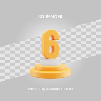 Podio dell'illustrazione 3d con il numero sei