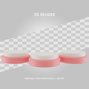 Podio dell'illustrazione 3d con tre podi