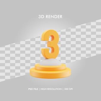 Podio dell'illustrazione 3d con il numero 3