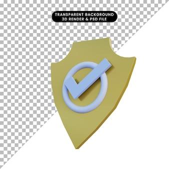 Distintivo della polizia dell'illustrazione 3d e icona della lista di controllo