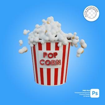 Illustrazione 3d di popcorn di grandi dimensioni