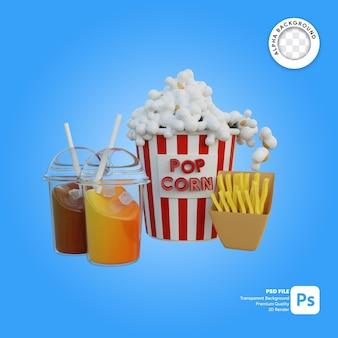 Illustrazione 3d del pacchetto della bevanda delle coppie del popcorn con le patate fritte