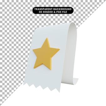 Icona di valutazione dell'illustrazione 3d su carta