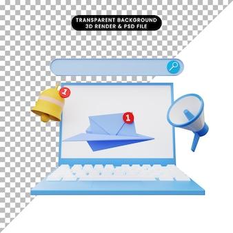 Illustrazione 3d di reclutamento online con laptop