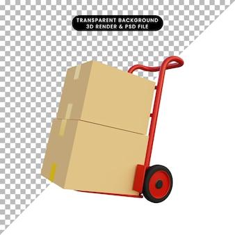 Illustrazione 3d del carrello della scatola rossa con cartone