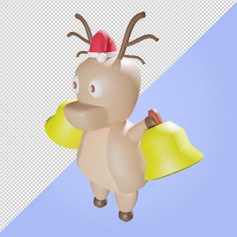 Illustrazione 3d di renne con cappello di natale e campana della chiesa