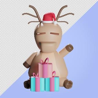 Illustrazione 3d di renne con scatola regalo di natale colorata