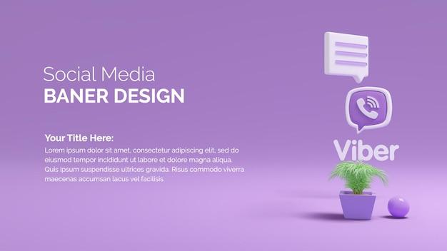 Rendering dell'illustrazione 3d logo viver con la cima dell'albero su sfondo sfumato di colore