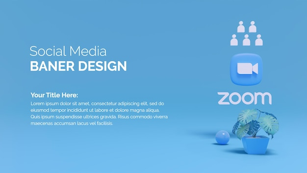 Rendering dell'illustrazione 3d logo zoom con la cima dell'albero su sfondo a colori sfumati