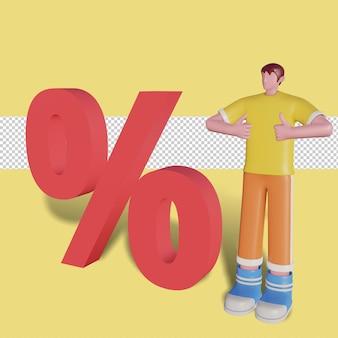 Illustrazione 3d dello sconto sulla promozione delle vendite