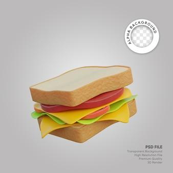 Panino con illustrazione 3d