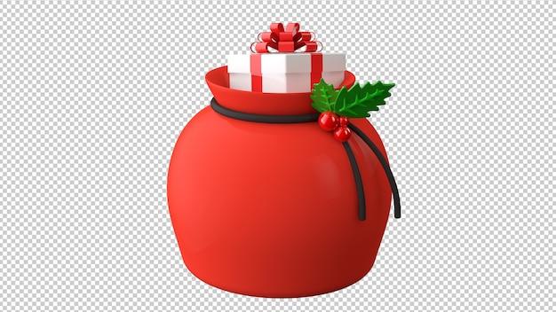 Illustrazione 3d sacchetto regalo di babbo natale isolato