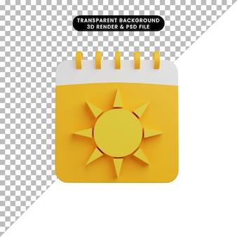 Illustrazione 3d del calendario della stagione estiva