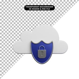 Illustrazione 3d del concetto di sicurezza nuvola con scudo