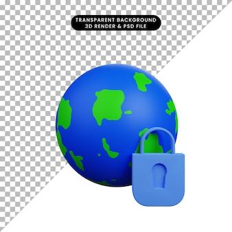 Illustrazione 3d del concetto di sicurezza terra con lucchetto