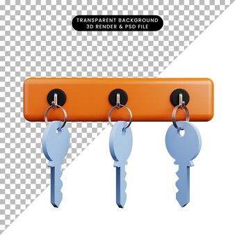 Illustrazione 3d della chiave d'attaccatura del concetto di sicurezza
