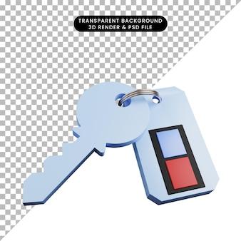 Illustrazione 3d della chiave del concetto di sicurezza con telecomando