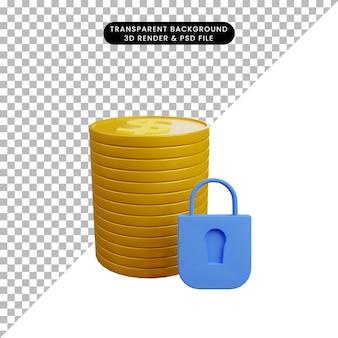 Illustrazione 3d della moneta dei soldi di concetto di sicurezza con il lucchetto