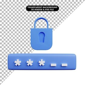 Illustrazione 3d della password di accesso del lucchetto del concetto di sicurezza