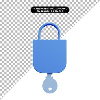 Illustrazione 3d del lucchetto del concetto di sicurezza con chiave