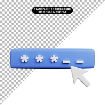 Illustrazione 3d del concetto di sicurezza password sicura con cursore
