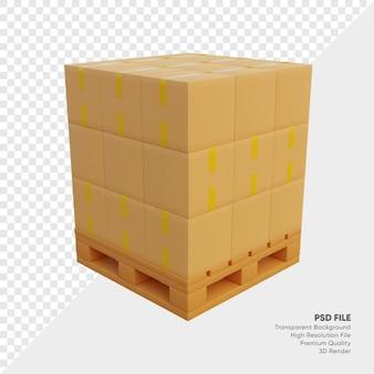 Illustrazione 3d della pila di scatole di spedizione su pallet