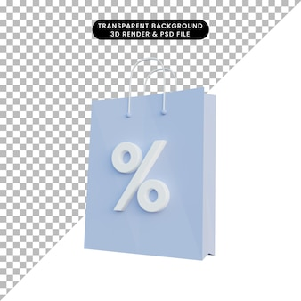 Icona di sconto shopping bag illustrazione 3d