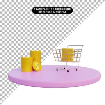 Carrello della spesa dell'illustrazione 3d con la moneta dorata sul podio con isolato