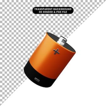Illustrazione 3d di una semplice batteria a icona