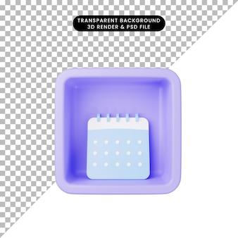 Illustrazione 3d del calendario semplice dell'icona sul cubo