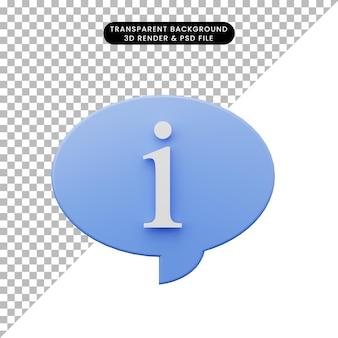 Illustrazione 3d di semplici informazioni sulla bolla di chat dell'icona