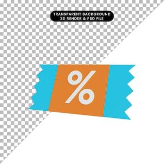 Tag sconto icona semplice illustrazione 3d