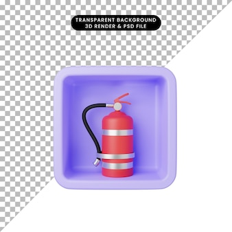 Illustrazione 3d dell'estintore semplice dell'icona sul cubo