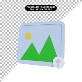 Illustrazione 3d semplice galleria di icone con icona di caricamento upload