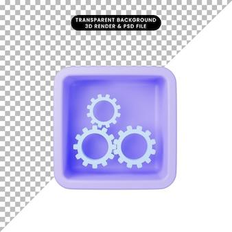 Illustrazione 3d dell'ingranaggio icona semplice sul cubo