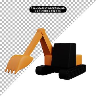 Bulldozer del trasporto dell'icona semplice dell'illustrazione 3d