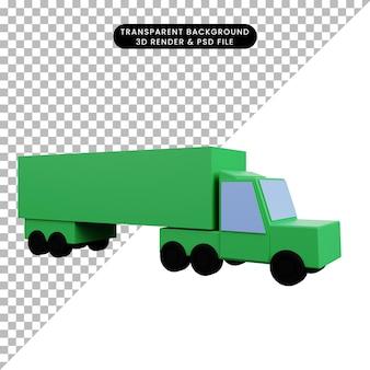 Camion del contenitore di trasporto dell'icona semplice dell'illustrazione 3d