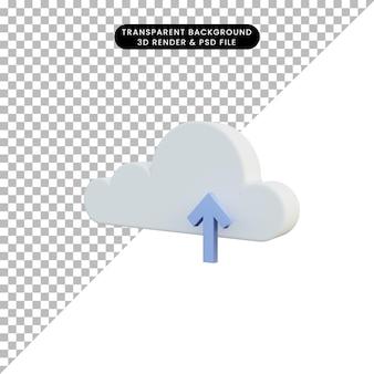 Caricamento semplice dell'icona dell'illustrazione 3d con il cloud