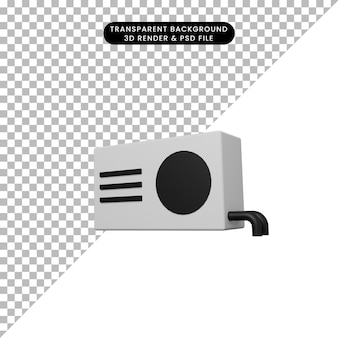 Illustrazione 3d di un semplice oggetto condizionatore d'aria